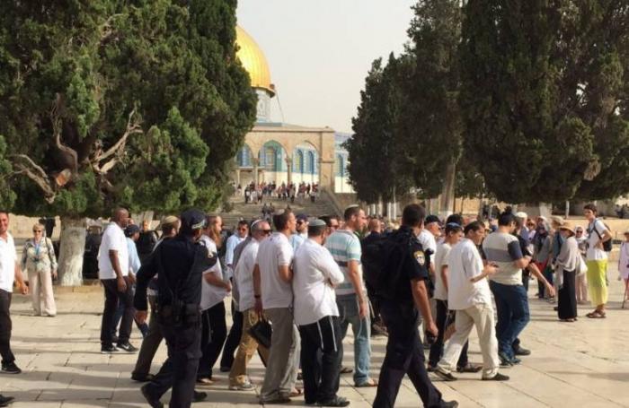 مئات المستوطنين يقتحمون المسجد الأقصى بحماية جيش الإحتلال
